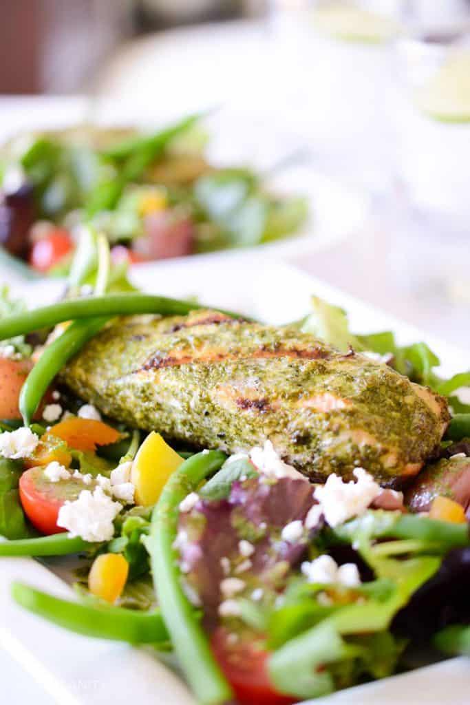 salad with basil dressing