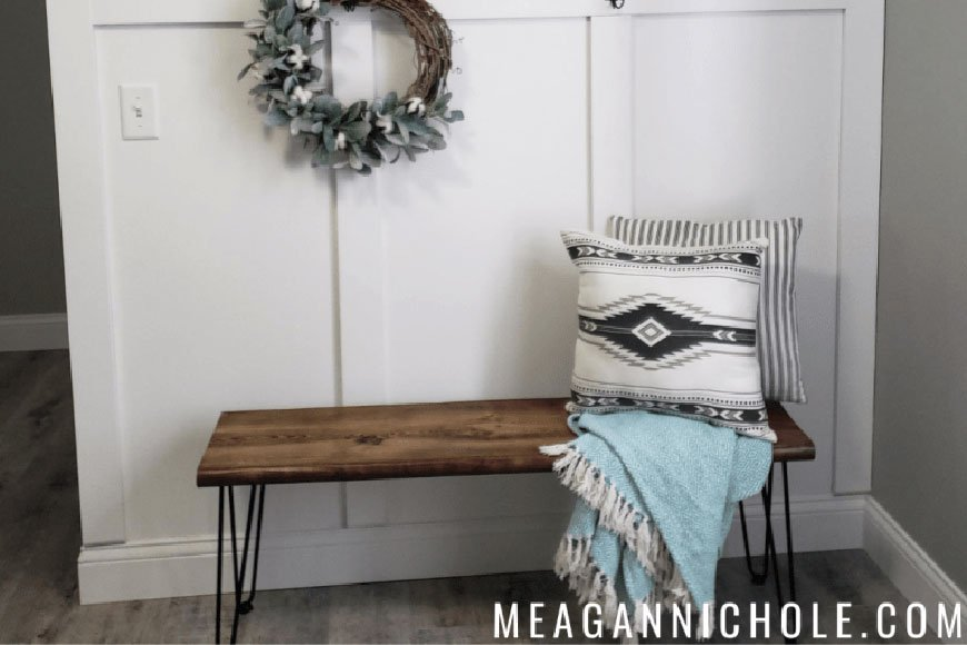 hairpin bench diy from Meagan Nichole dot com