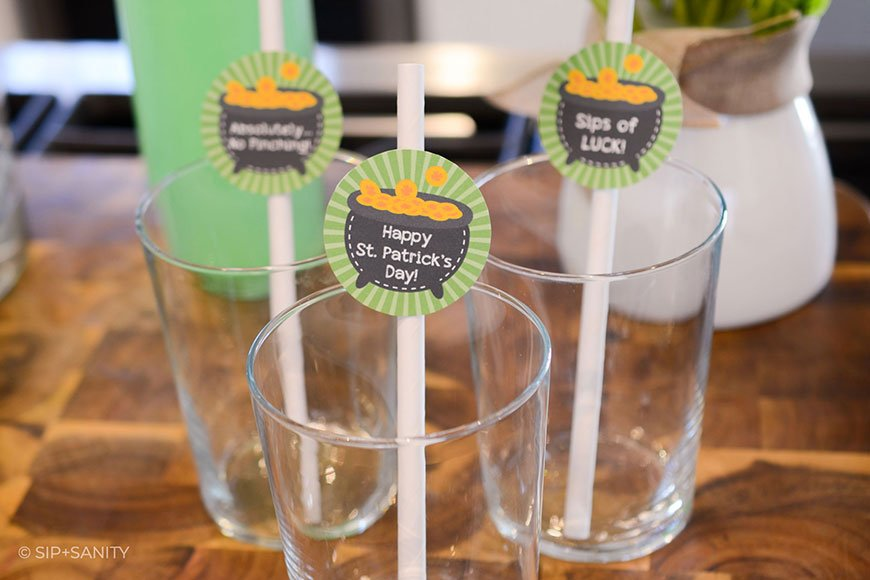 straws with st. patrick's day toppers