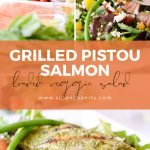 Pin image for grilled salmon salad with basil vinaigrette