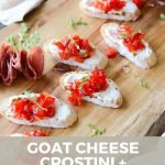 pin image for goat cheese crostini and homemade red pepper jam