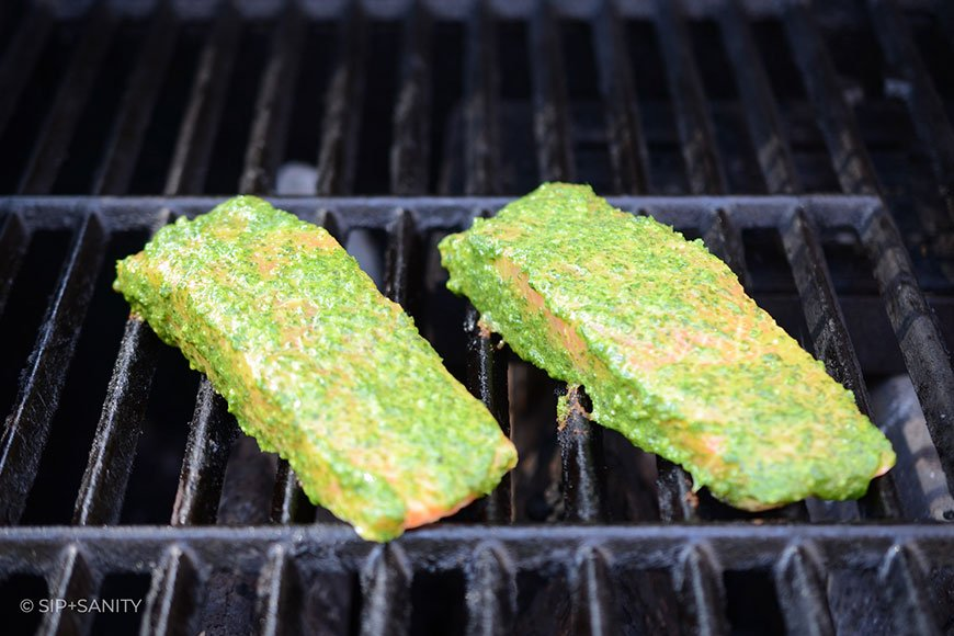 pistou marinated salmon on a grill