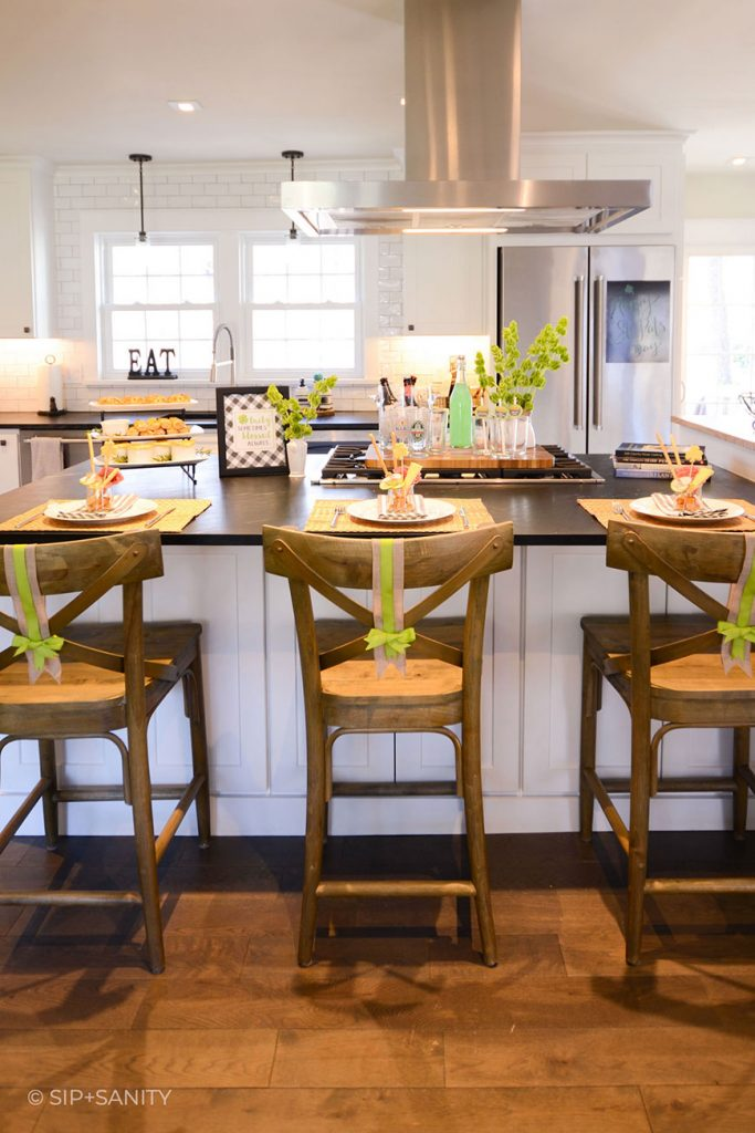 kitchen island set up for st. patrick's day
