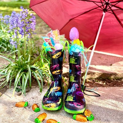 Rainboots & Umbrella Rainy Day Easter Basket from A Hundred Affections