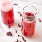 two glasses of hibiscus tea mimosas