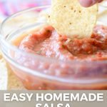 pin image for easy homemade salsa