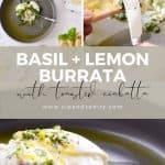 pin image for basil + lemon burrata with toasted ciabatta