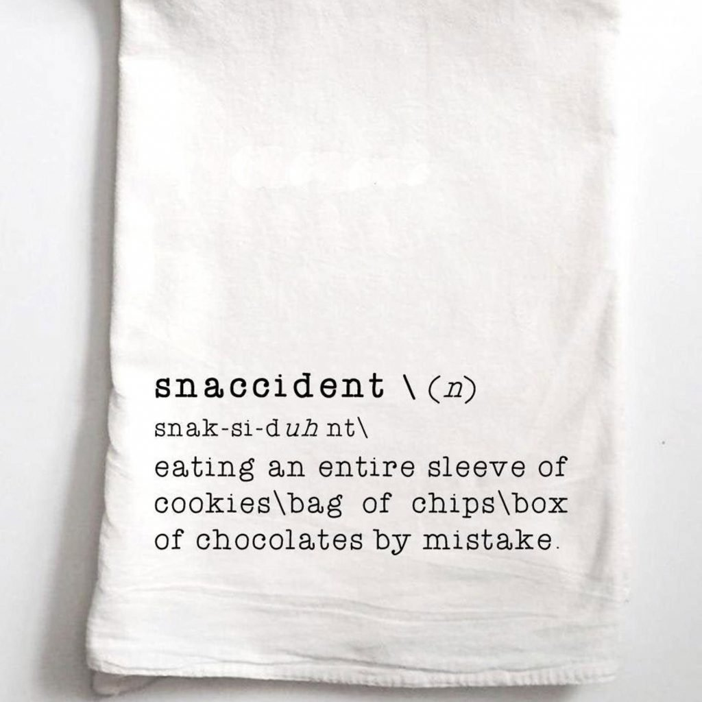Snaccident Tea Towel from Silver Bird Creations