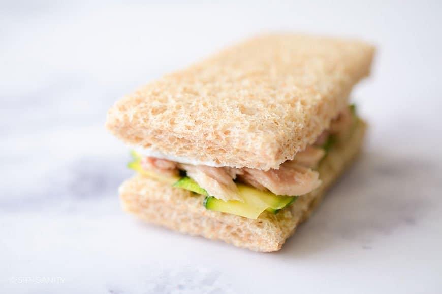 zucchini and tuna finger sandwich