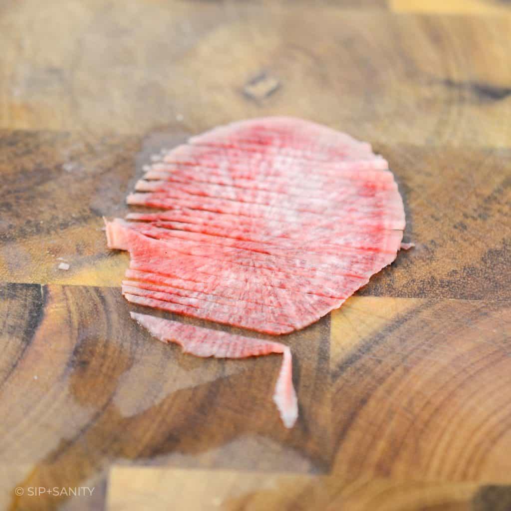 thin slice of radish