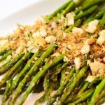 grilled asparagus topped with anchovy breadcrumbs
