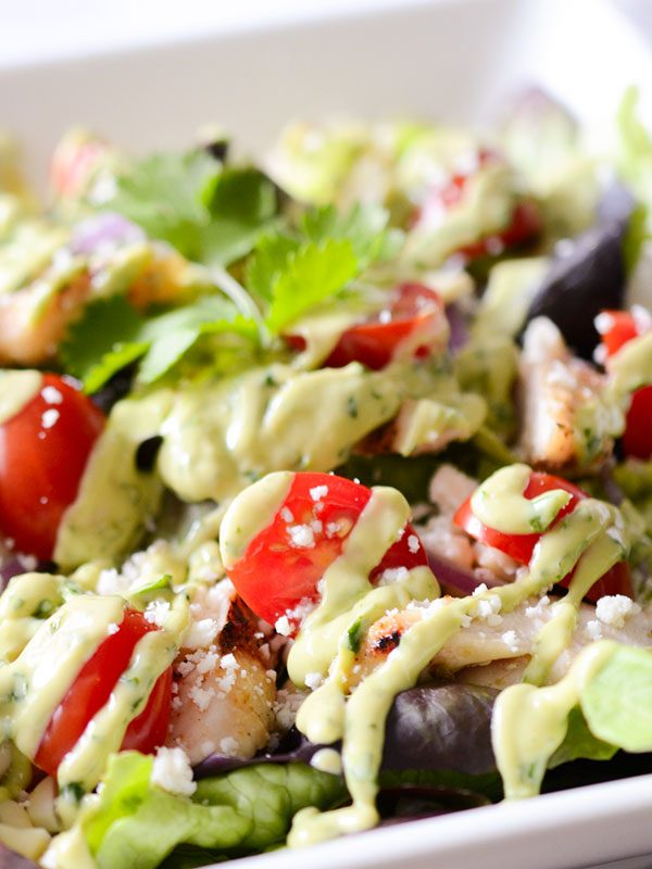Healthy Grilled Chicken + Corn Summer Salad with Avocado Lime Dressing