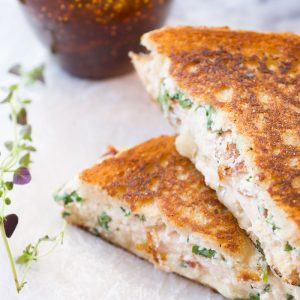 grilled cheese sandwiches with ricotta, chicken and fig jam