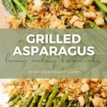 pin image for grilled asparagus with anchovy breadcrumbs