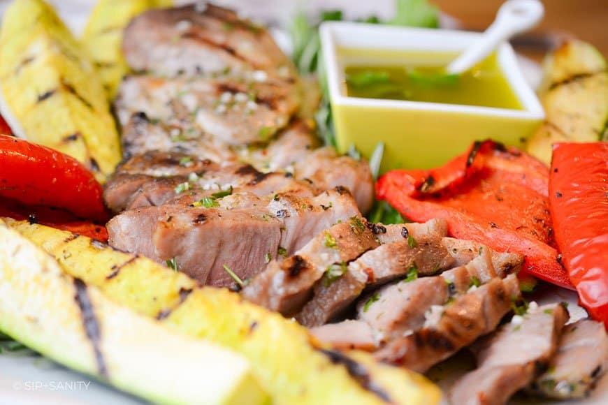 sliced pork and grilled veggies