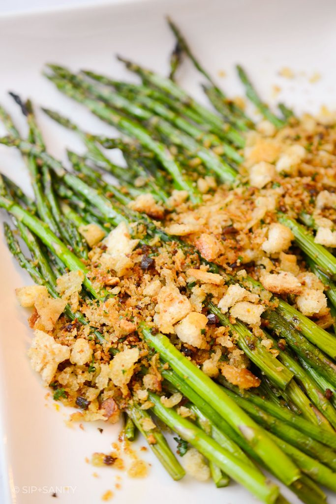 platter of asparagus with crispy anchovy breadcrumbs