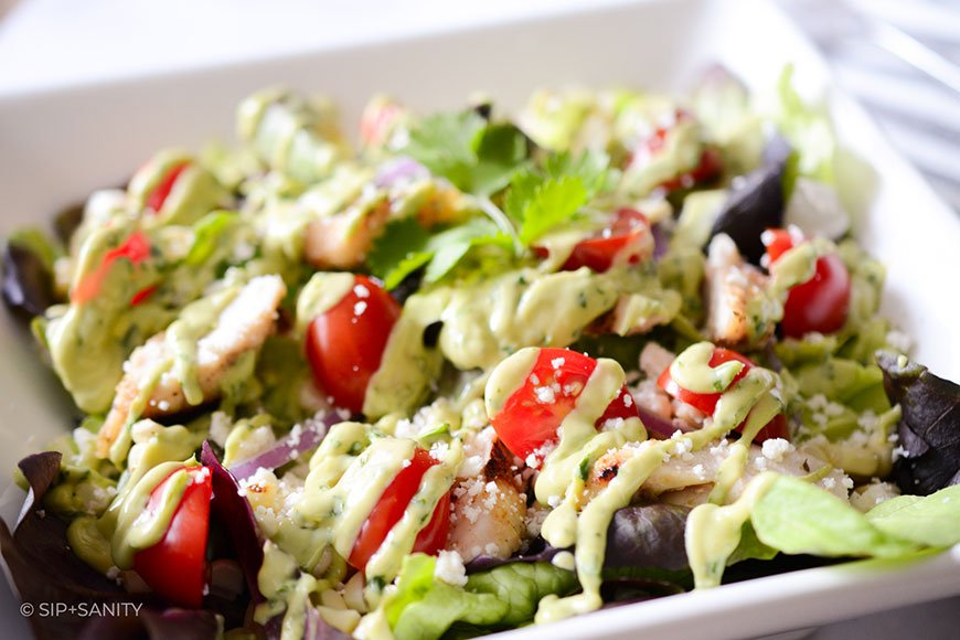 grilled chicken and corn salad with avocado lime dressing