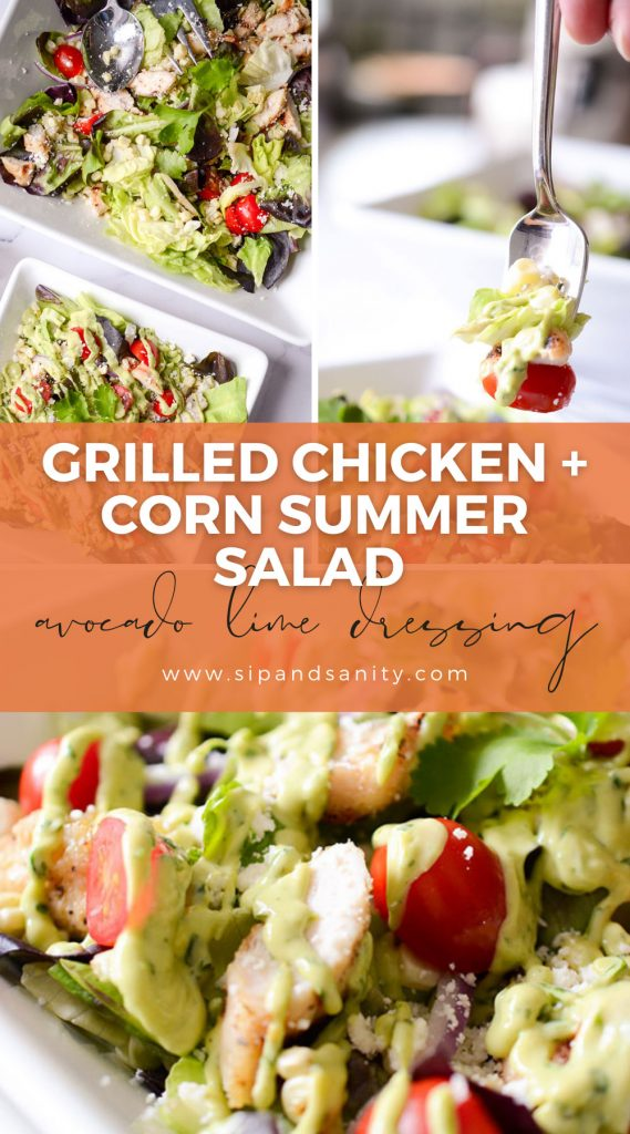 pin image for grilled chicken and corn summer salad