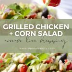 pin image for grilled chicken + corn salad