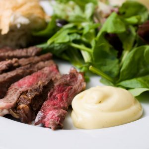French mayonnaise with steak and salad