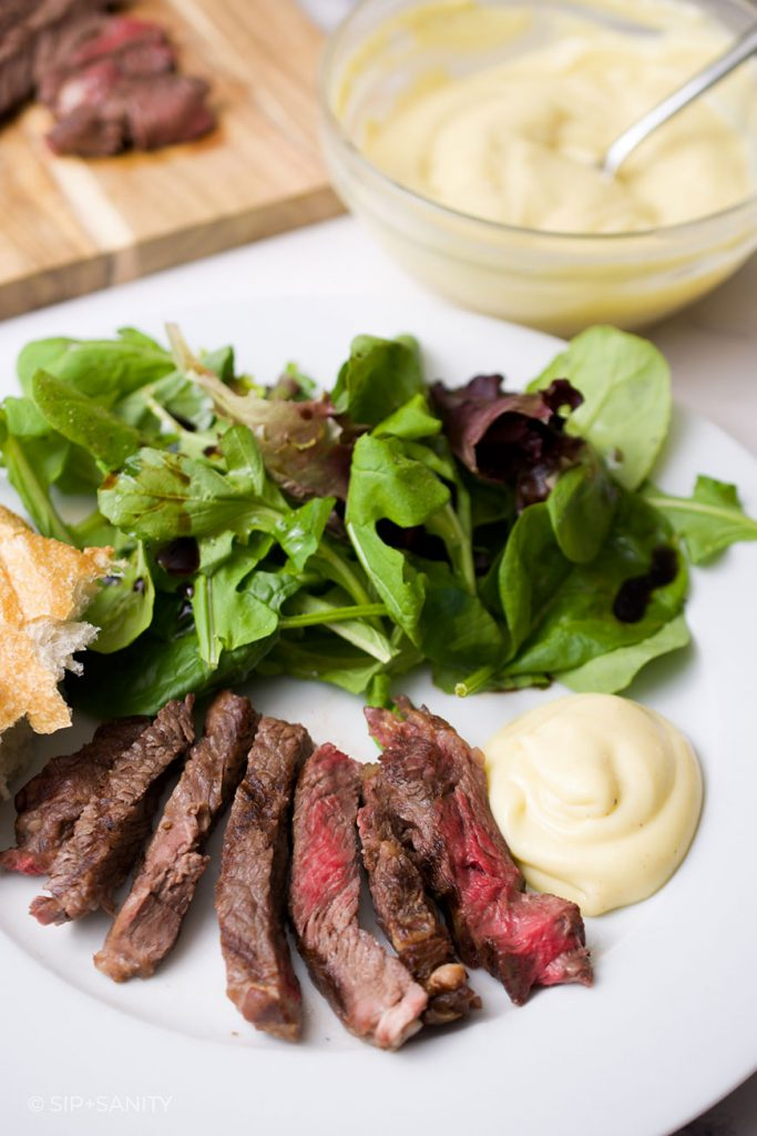 plate of salad, steak and french mayo