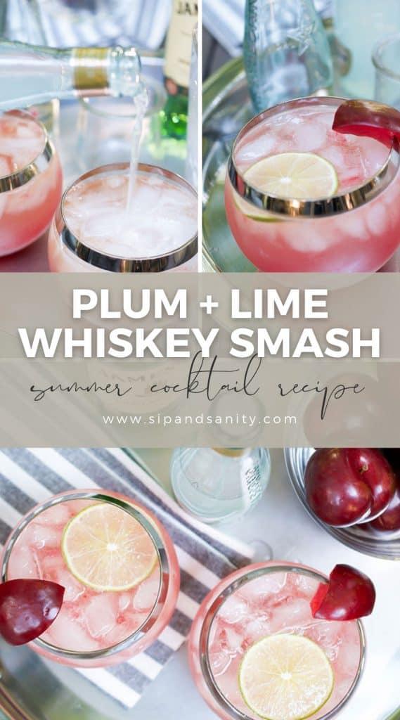 pin image for plum and lime whiskey smash