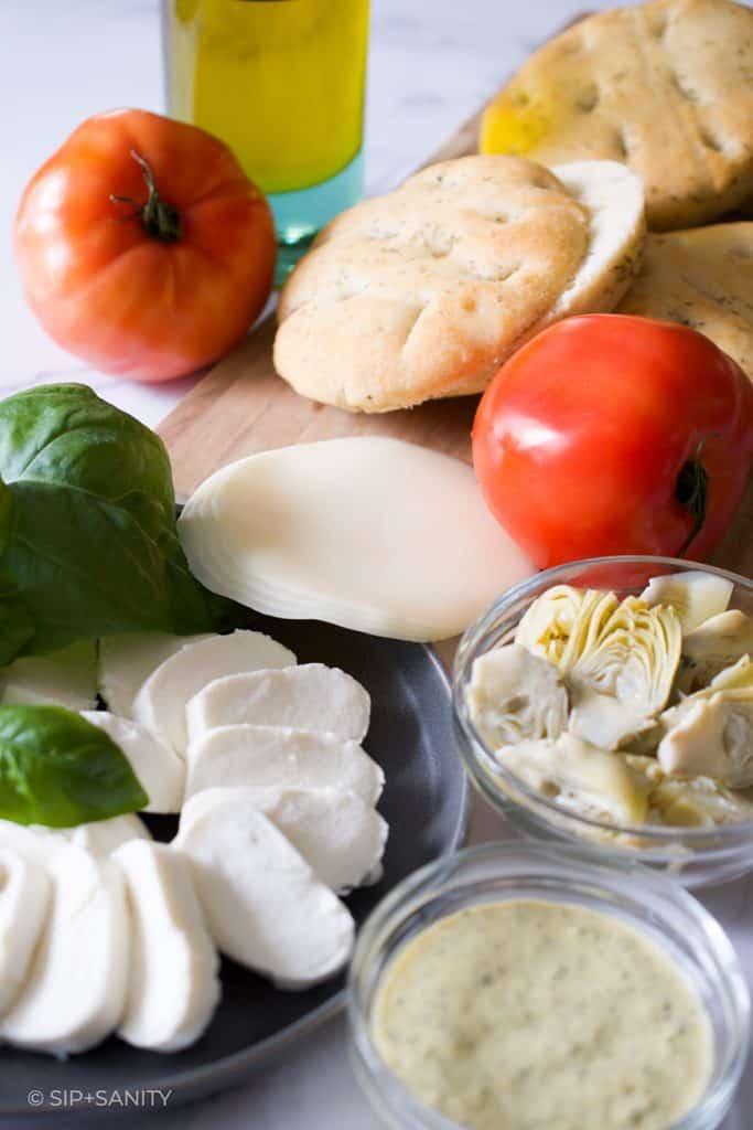 cheese, artichokes, tomatoes, focaccia, basil, aioli