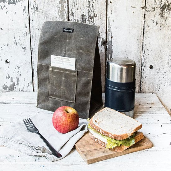 Waxed canvas lunch tote by Peg and Awl