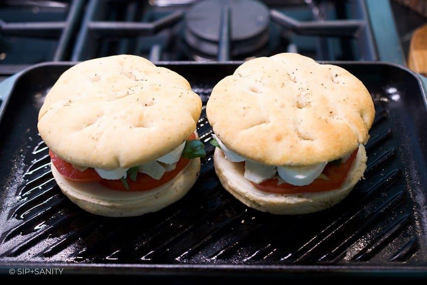 panini sandwiches on grill pan