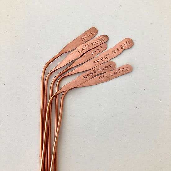 Recycled copper plant markers by Blisscraft + Brazen