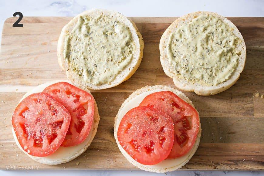 focaccia with tomato slices and pesto aioli
