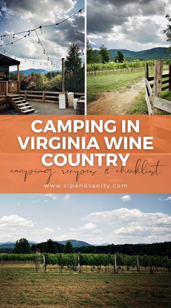 pin image for camping in virginia wine country with camping recipes and checklist