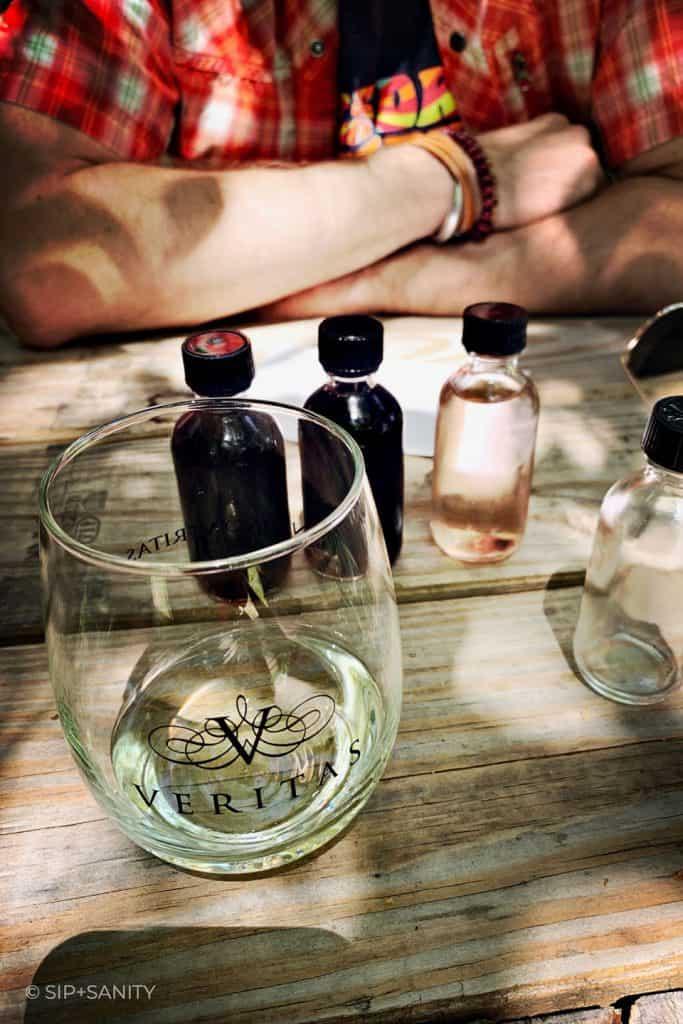 Veritas Winery wine tasting bottles