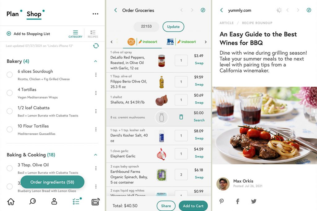 screenshots from Yummly's mobile app showing the shopping list, grocery ordering and articles