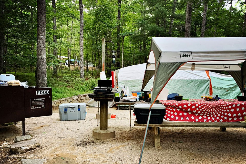 wine country campsite with picnic table, tent and canopy