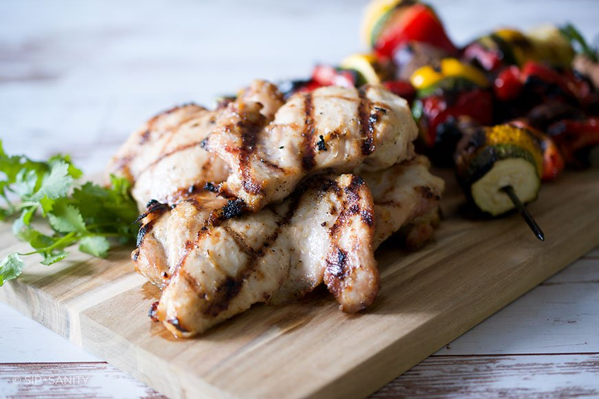 grilled adobo chicken and vegetable skewers