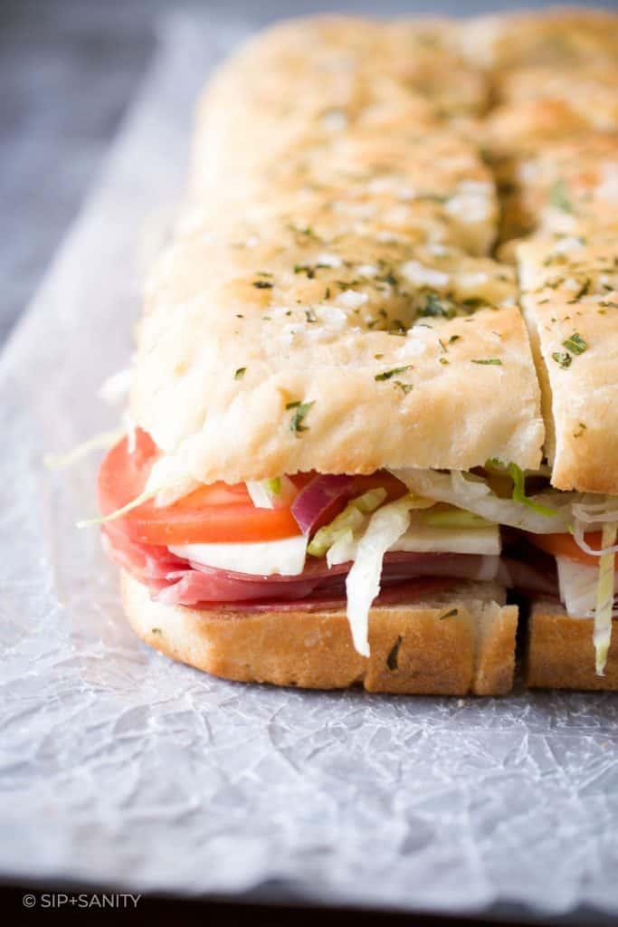 focaccia bread sliced to make Italian sub sandwiches
