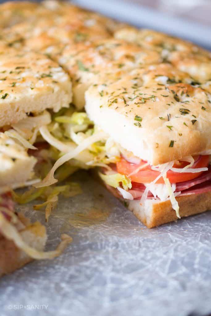 italian sub sandwich sliders on focaccia