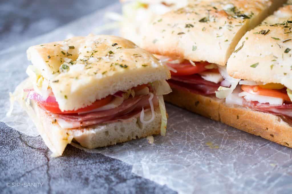Italian sub sandwich party sliders