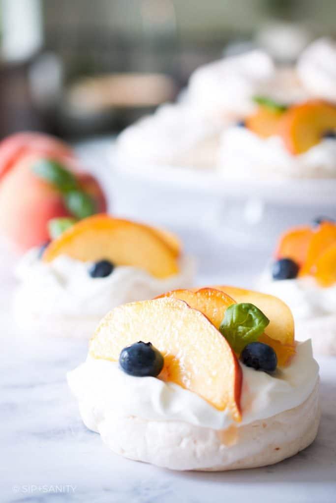 individual peach pavlovas