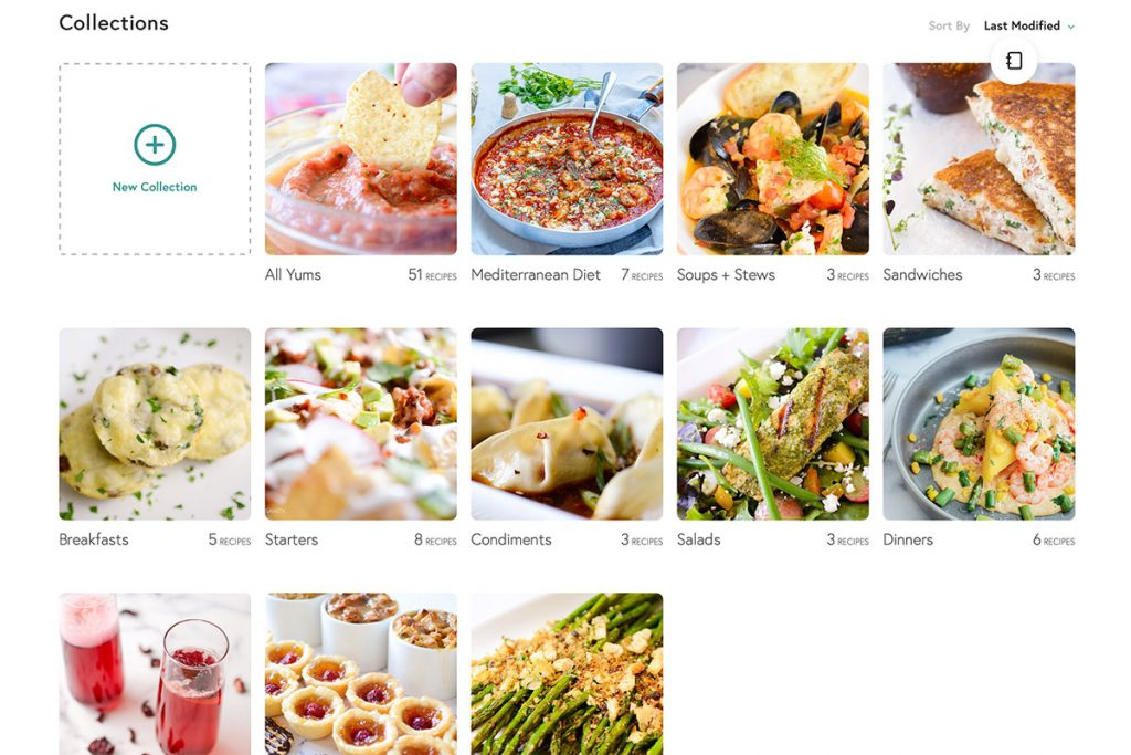 screenshot of Yummly collections