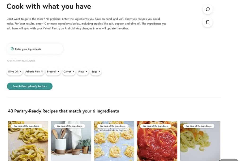 screenshot of Yummly's virtual pantry