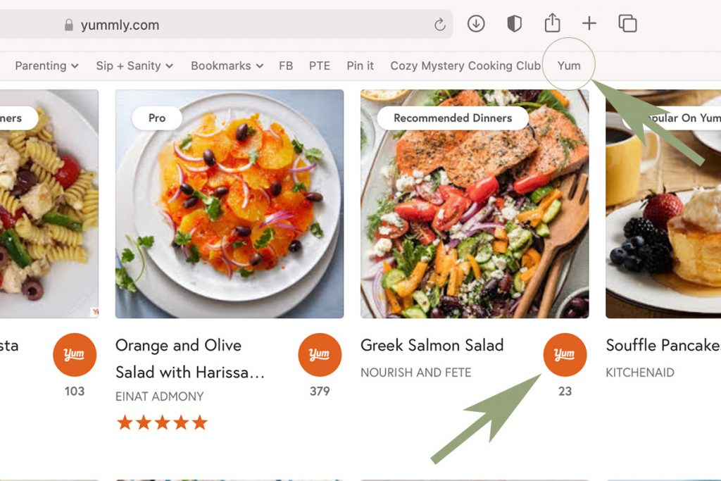 screenshot of examples of Yummly's yum button and yum browser bookmarklet