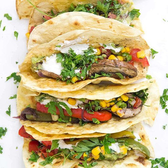 Crispy Mushroom Fajita Tacos from Speak Veggie To Me