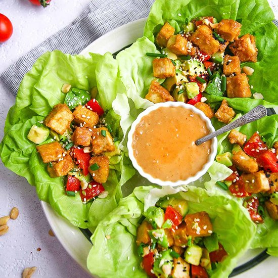 Healthy Low Carb Tofu Lettuce Wraps from Speak Veggie To Me