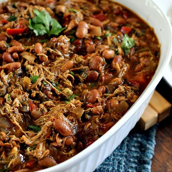 Slow Cooker Smoky Chicken with Pinto Beans from Taste As You Go