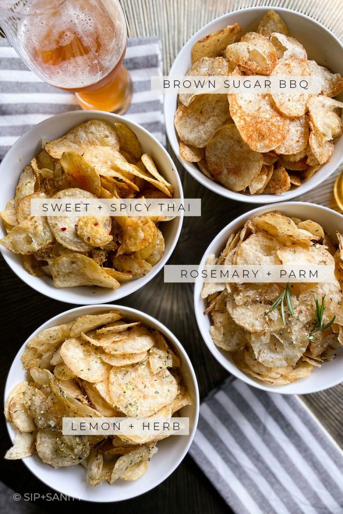 4 different bowls of kettle chips labeled with flavors