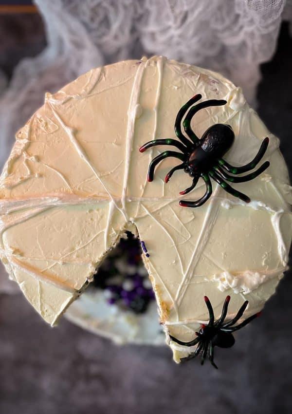 marshmallow spiderweb halloween cake