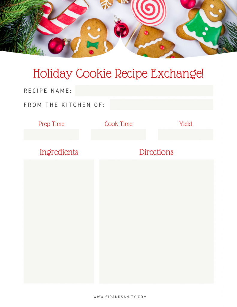 holiday cookie recipe card
