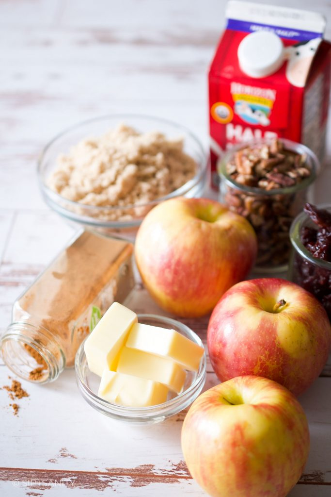 ingredients for making apple compote